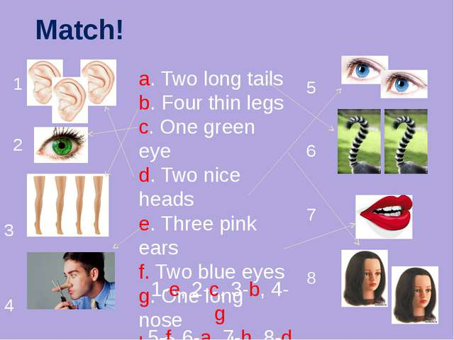 Match! 1 2 3 4 5 6 7 8 a. Two long tails b. Four thin legs c. One green eye d...