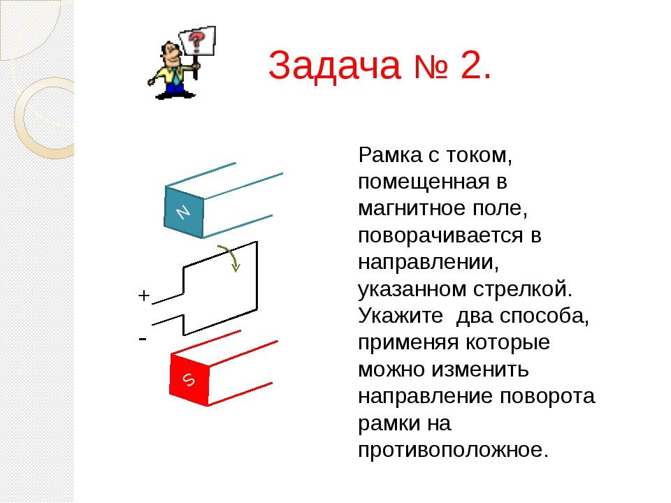 Задача № 2. N S + - Рамка с током, помещенная в магнитное поле, поворачиваетс...