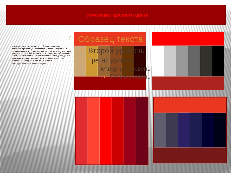сочетание красного цвета Красный цвет- цвет страсти, побуждает к динамике,...