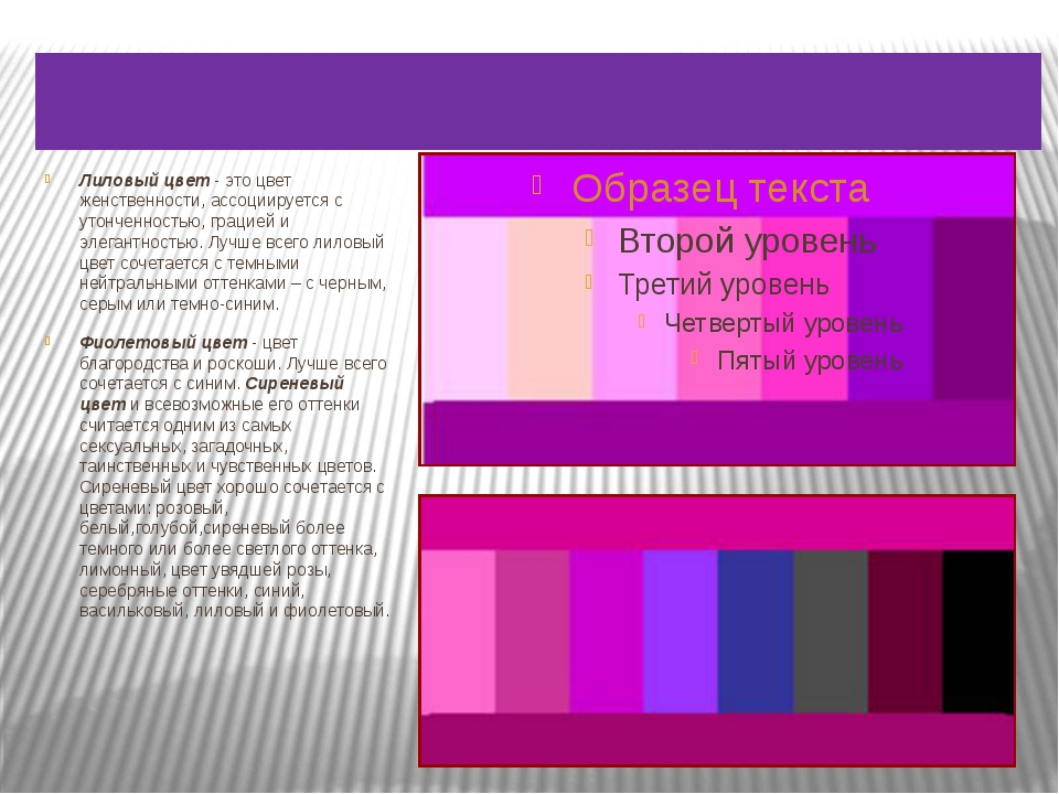 Сочетание фиолетового и лилового цвета. Лиловый цвет- это цвет женственности...