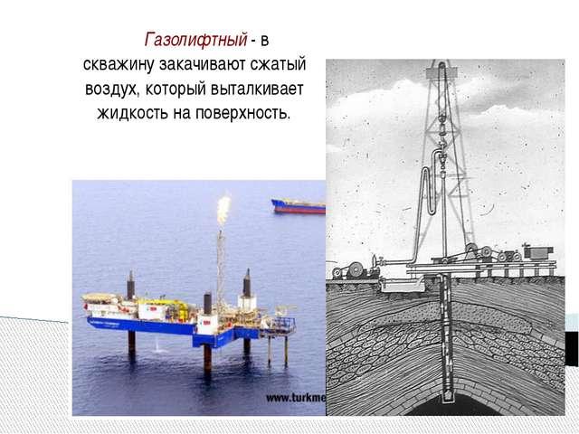 Газолифтный - в скважину закачивают сжатый воздух, который выталкивает жидко...