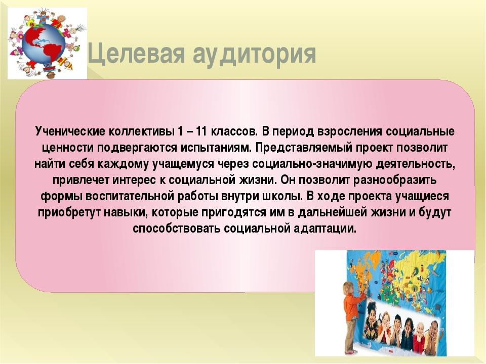 Целевая аудитория Ученические коллективы 1 – 11 классов. В период взросления...