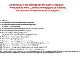 Организационно-методическая документация: локальные акты, регламентирующие ра