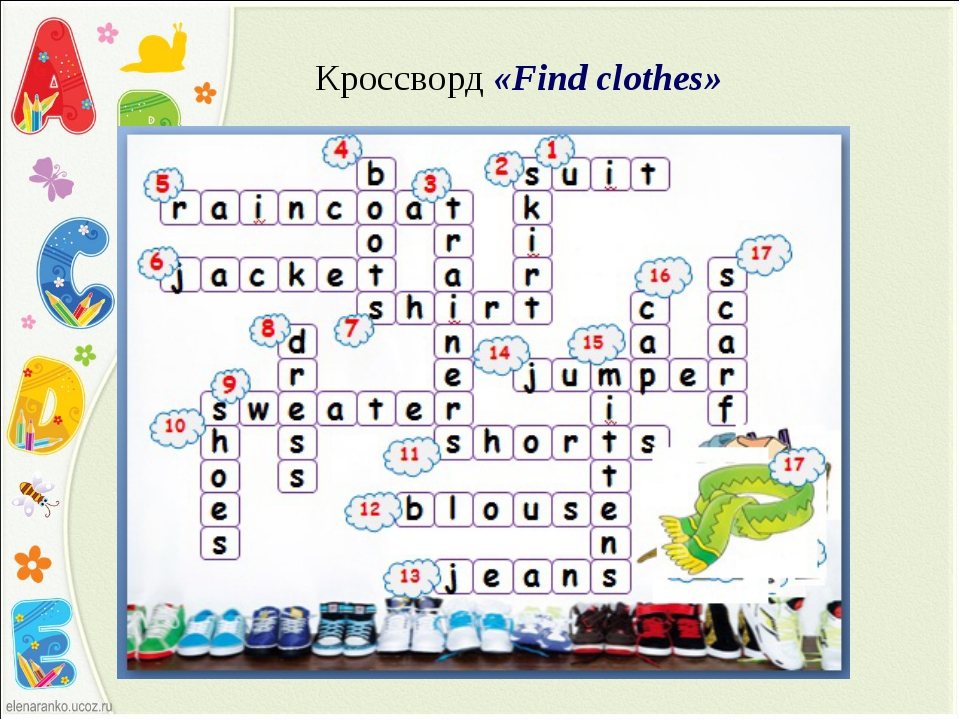 Кроссворд «Find clothes»