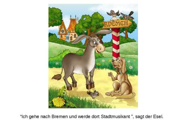 """""""Ich gehe nach Bremen und werde dort Stadtmusikant """", sagt der Esel."""