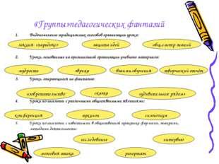 «Группы»педагогических фантазий Видоизменение традиционных способов организац