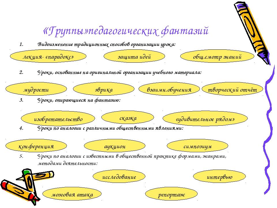 «Группы»педагогических фантазий Видоизменение традиционных способов организац...