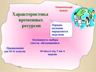 Методический центр 2007 Характеристика временных ресурсов Тематический подход