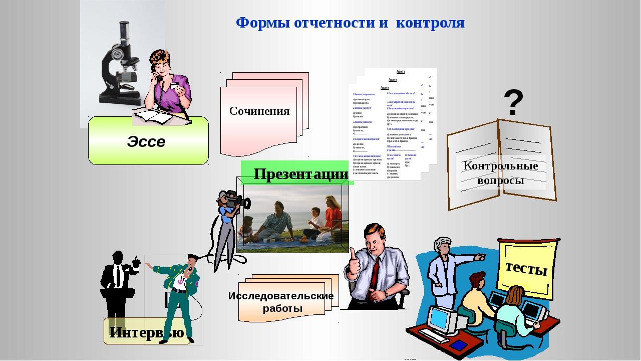 Сочинения Формы отчетности и контроля Интервью тесты ? Эссе Презентации Иссл...