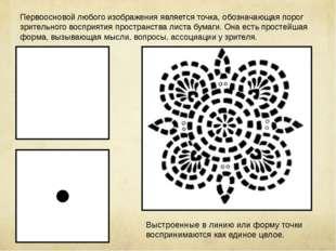 Первоосновой любого изображения является точка, обозначающая порог зрительног