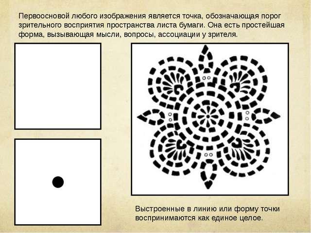 Первоосновой любого изображения является точка, обозначающая порог зрительног...