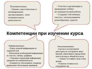 Компетенции при изучении курса - Участие в организации и проведении учебно-ис