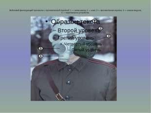 Войсковой фильтрующий противогаз с противогазовой коробкой: 1 — шлем-маска; 2