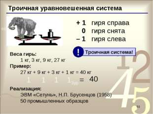 * Троичная уравновешенная система + 1гиря справа 0гиря снята – 1гиря слева