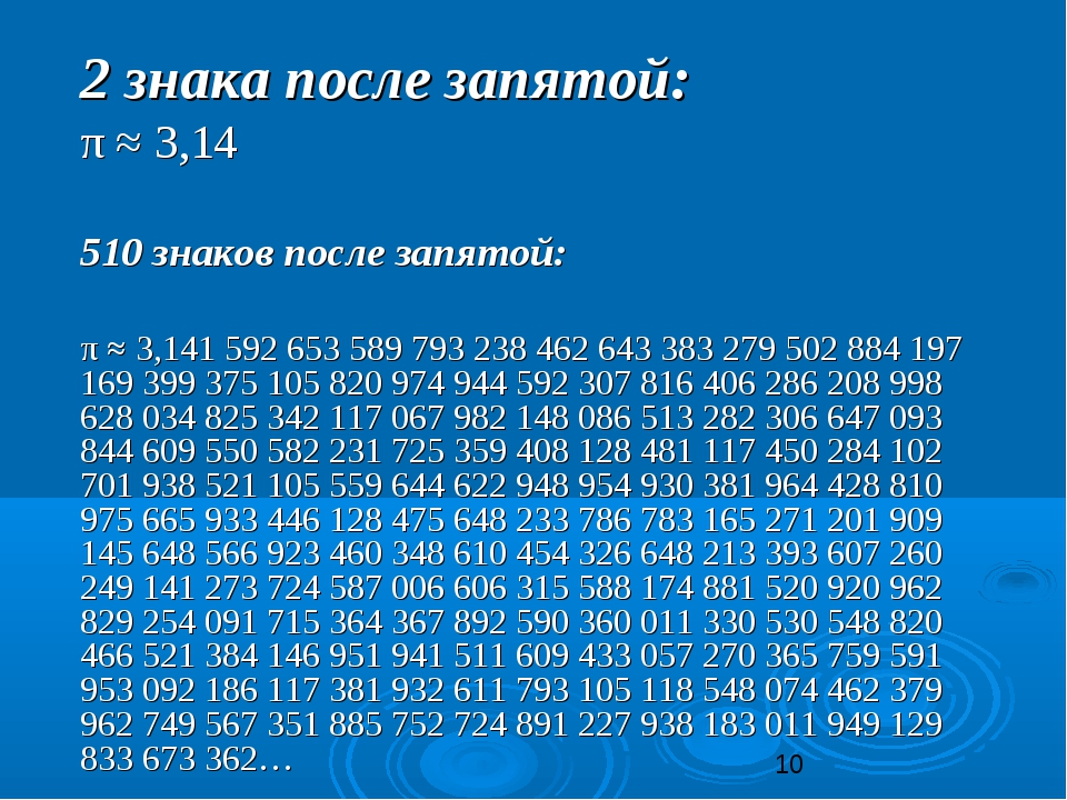 2 знака после запятой: π ≈ 3,14 510 знаков после запятой: π ≈ 3,141 592 6...