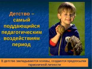 Детство – самый поддающийся педагогическим воздействиям период В детстве закл