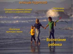 ФУНКЦИИ РОДИТЕЛЕЙ - Создание оптимальных условий для роста и развития ребенка