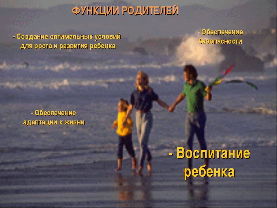 ФУНКЦИИ РОДИТЕЛЕЙ - Создание оптимальных условий для роста и развития ребенка...