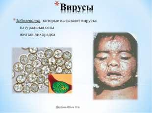 Заболевания, которые вызывают вирусы: натуральная оспа желтая лихорадка Деули