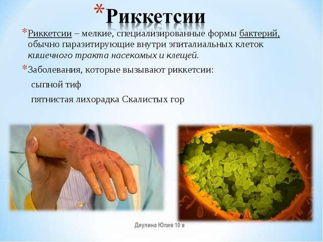 Риккетсии– мелкие, специализированные формы бактерий, обычно паразитирующие...