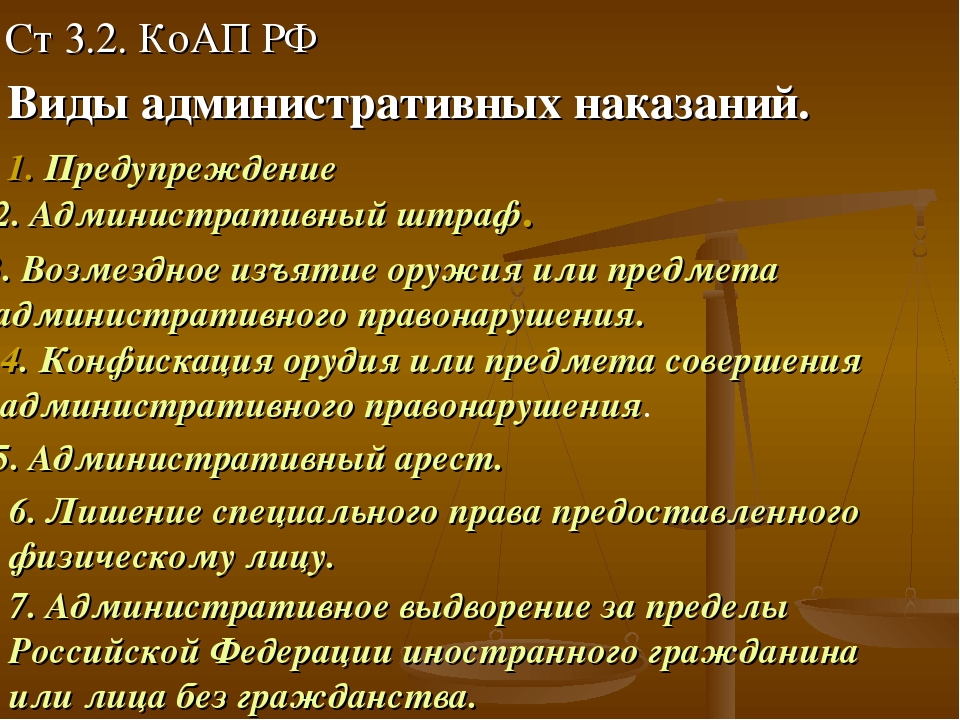 Ст 3.2. КоАП РФ Виды административных наказаний. 1. Предупреждение 2. Админис...
