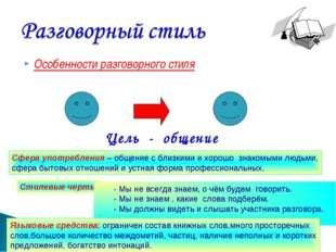 Особенности разговорного стиля Развитие речи.5 класс. Калашникова В.И. МКОУ Ю