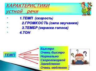 1.ТЕМП (скорость) 2.ГРОМКОСТЬ (сила звучания) 3.ТЕМБР (окраска голоса) 4.ТОН
