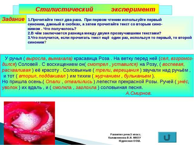 Развитие речи.5 класс. Калашникова В.И. МКОУ Юдинская ООШ. Стилистический экс...