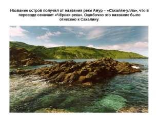 Название остров получил от названия реки Амур – «Сахалян-улла», что в перевод
