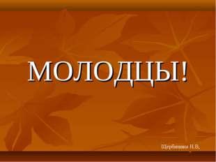 МОЛОДЦЫ! Щербинина Н.В,