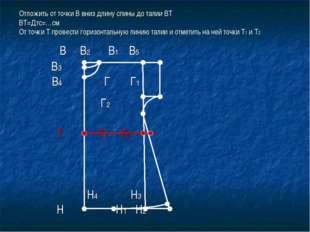 Отложить от точки В вниз длину спины до талии ВТ ВТ=Дтс=…см От точки Т провес