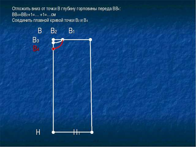 Отложить вниз от точки В глубину горловины переда ВВ4: ВВ4=ВВ2+1=… +1=…см Сое...