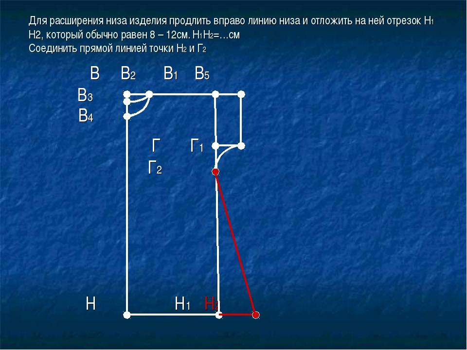 Для расширения низа изделия продлить вправо линию низа и отложить на ней отре...