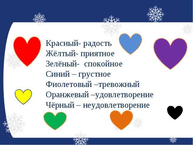 Красный- радость Жёлтый- приятное Зелёный- спокойное Синий – грустное Фиолето...