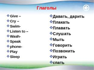 Глаголы Give – Cry – Swim- Listen to – Wash- Speak phone- Play Sleep Давать,