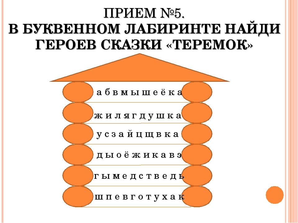 ПРИЕМ №5. В БУКВЕННОМ ЛАБИРИНТЕ НАЙДИ ГЕРОЕВ СКАЗКИ «ТЕРЕМОК» а б в м ы ш е ё...