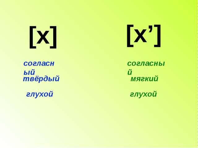 [x] [x'] согласный глухой твёрдый согласный глухой мягкий