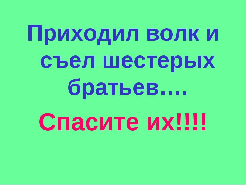 Приходил волк и съел шестерых братьев…. Спасите их!!!!