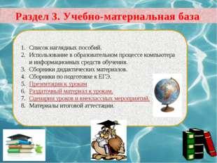 Раздел 3. Учебно-материальная база Список наглядных пособий. Использование в