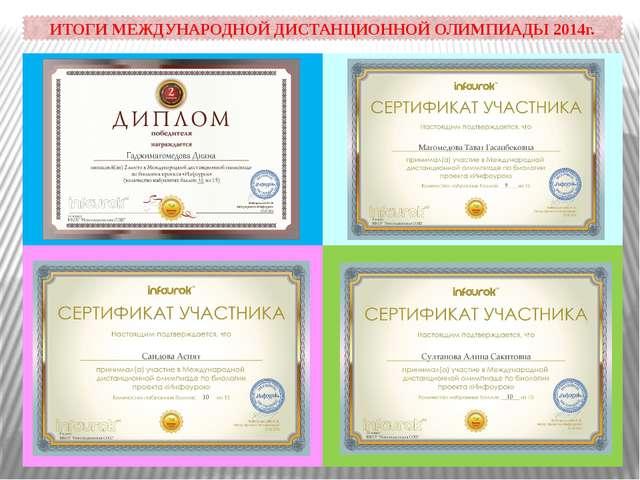 ИТОГИ МЕЖДУНАРОДНОЙ ДИСТАНЦИОННОЙ ОЛИМПИАДЫ 2014г.