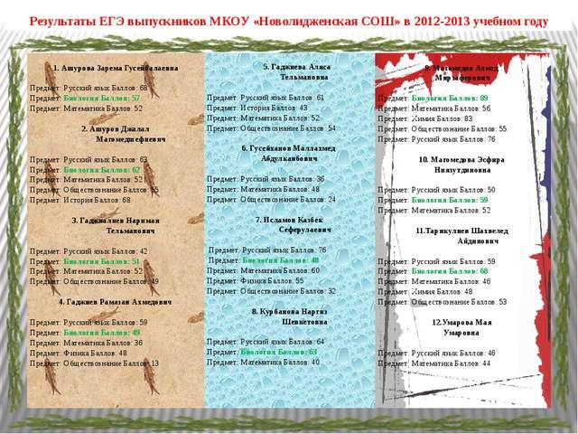 Результаты ЕГЭ выпускников МКОУ «Новолидженская СОШ» в 2012-2013 учебном году...