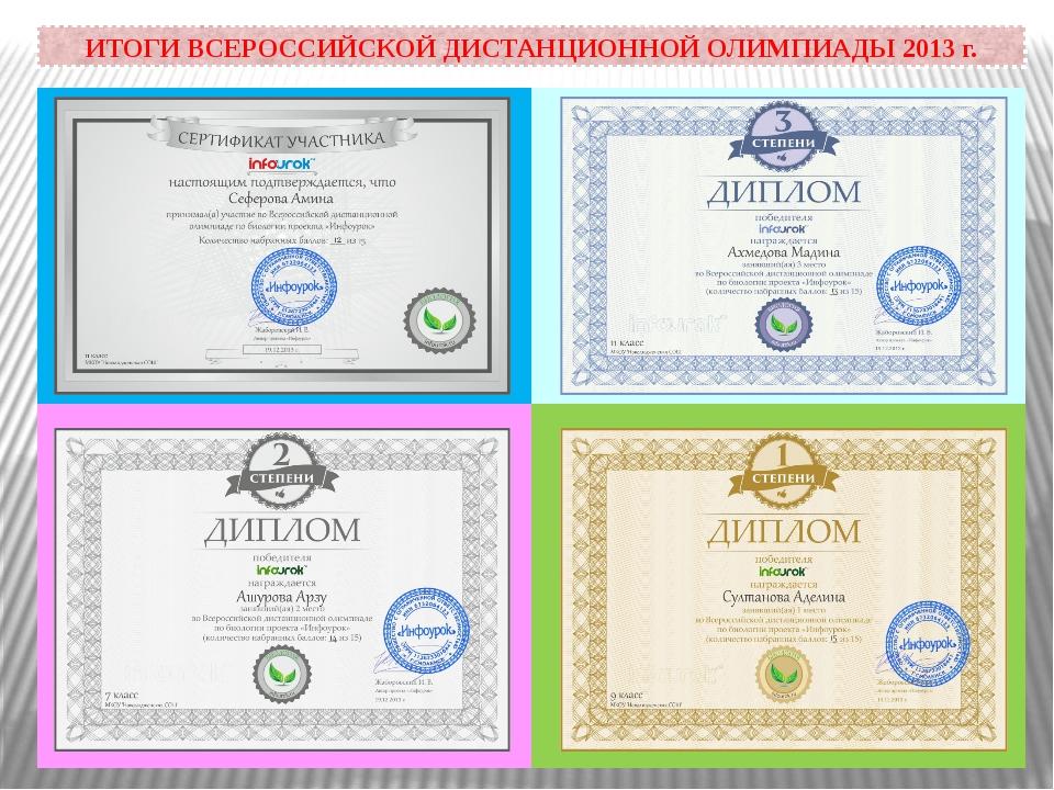 ИТОГИ ВСЕРОССИЙСКОЙ ДИСТАНЦИОННОЙ ОЛИМПИАДЫ 2013 г.