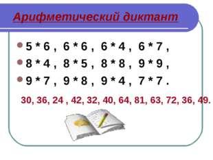 Арифметический диктант 5 * 6 , 6 * 6 , 6 * 4 , 6 * 7 , 8 * 4 , 8 * 5 , 8 * 8