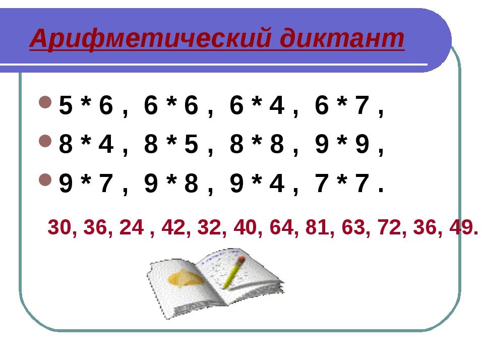 Арифметический диктант 5 * 6 , 6 * 6 , 6 * 4 , 6 * 7 , 8 * 4 , 8 * 5 , 8 * 8...