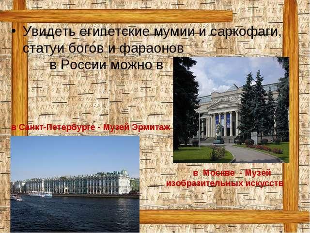 в Москве - Музей изобразительных искусств Увидеть египетские мумии и саркофа...
