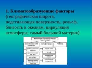 1. Климатообразующие факторы (географическая широта, подстилающая поверхность