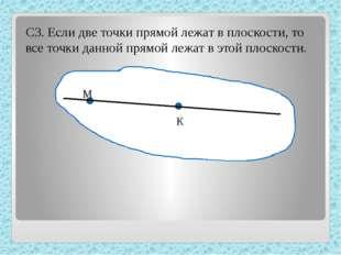С3. Если две точки прямой лежат в плоскости, то все точки данной прямой лежа