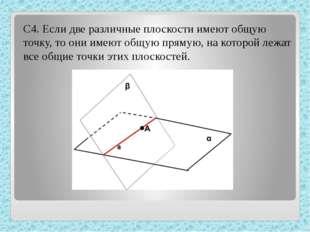 С4. Если две различные плоскости имеют общую точку, то они имеют общую прямую