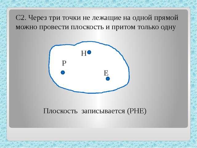 С2. Через три точки не лежащие на одной прямой можно провести плоскость и пр...