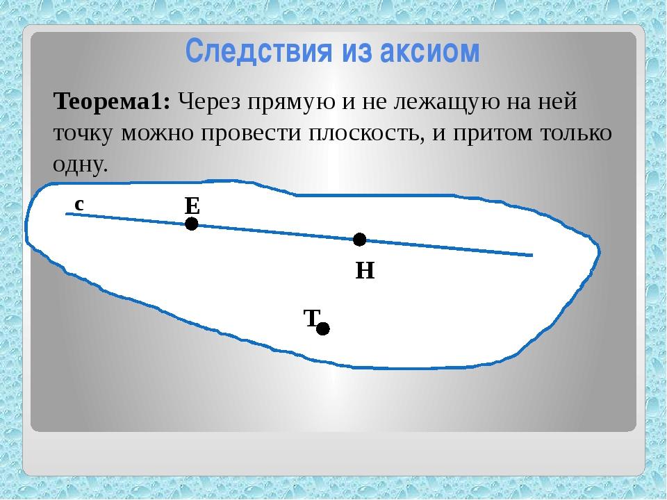 Следствия из аксиом Теорема1: Через прямую и не лежащую на ней точку можно п...
